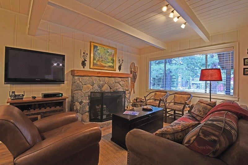 salle familiale confortable avec une cheminée en pierre et d'une télévision à écran plat