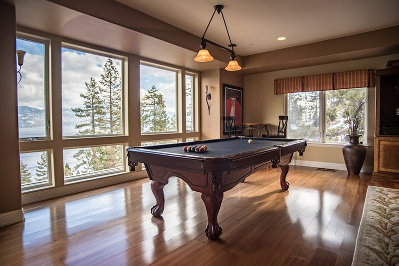 Elegant pool table in the main living room