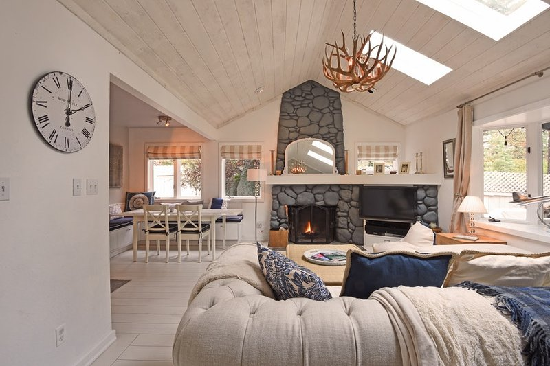 Living room with stone hearth