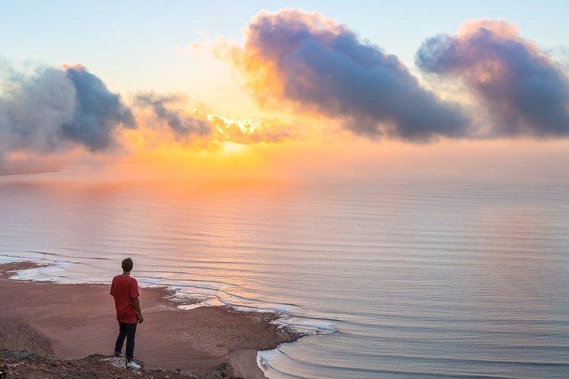 Aqueça-do-sol glorioso no Mirador del Rio