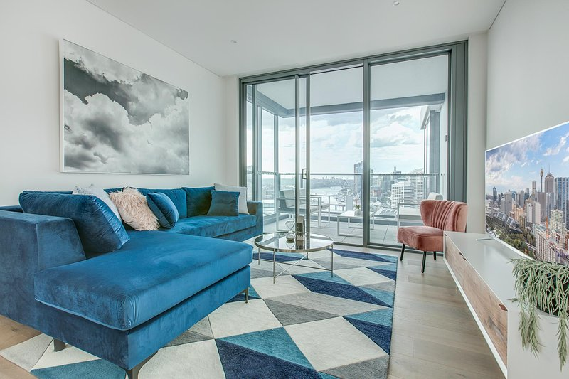 Living area with city views