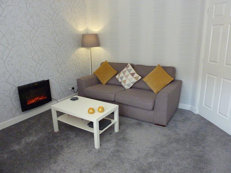 Salón con sofá 3 plazas y una silla ocasional adicional.