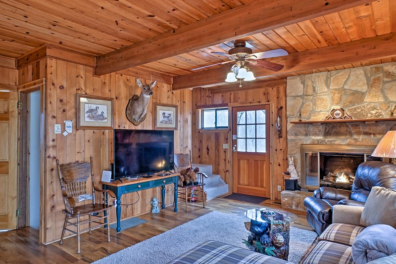 Enjoy hot cocoa around the gas fireplace.
