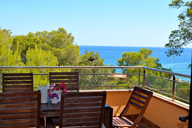 terrace with spectaculars sea views-SA PUNTA COSTA BRAVA