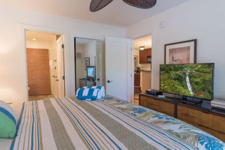 Master bedroom with flat screen television, ceiling fan and air conditioning