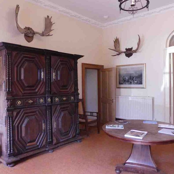 The grand entrance hall at this country house
