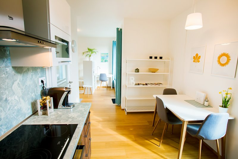 Full kitchen with dining area