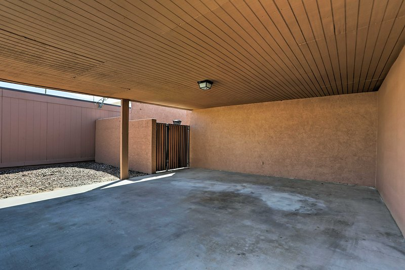 Parking for 2 vehicles is available in the carport.