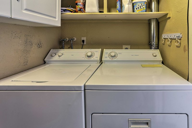 In-unit laundry machines ensure your travel clothes stay fresh!