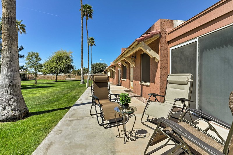 You'll have the perfect spot to sit by the golf course.