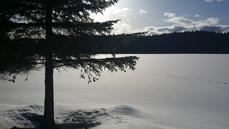 langer Winter April 2018. A auf Higgins Lake