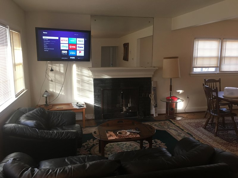 Living room view with 2nd Big Screen TV with movie channels