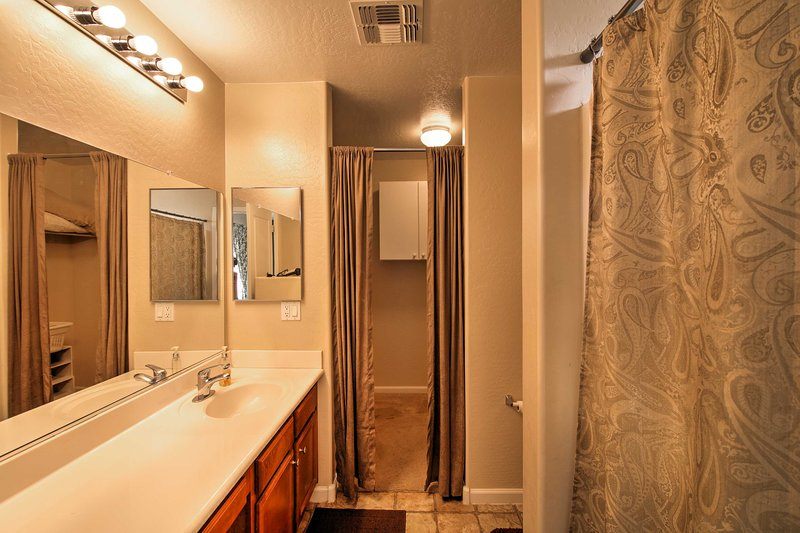 This bathroom has tons of space to get ready!