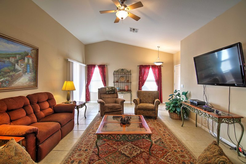 Sprawl out on the comfortable furniture and fully relax.