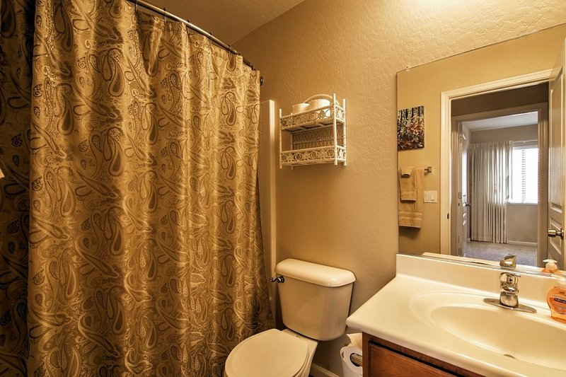 Take a hot shower in this shower/tub combo.
