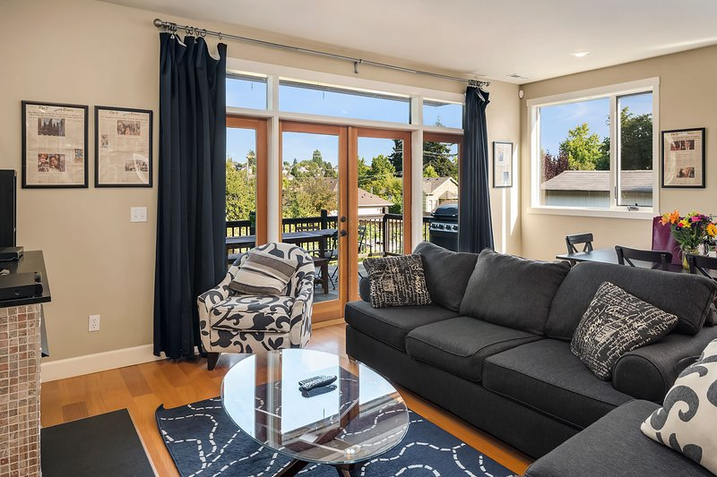 Convene in the spacious living room to watch a movie, play some games, or light up the gas fireplace