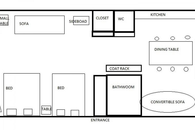 Floor plan drawn by me :) Measurements are probably not correct, but it gives you some hint how the apartment has staged :)