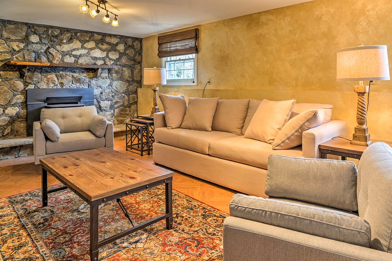 After a winery tour, rest your legs on the plush couch.