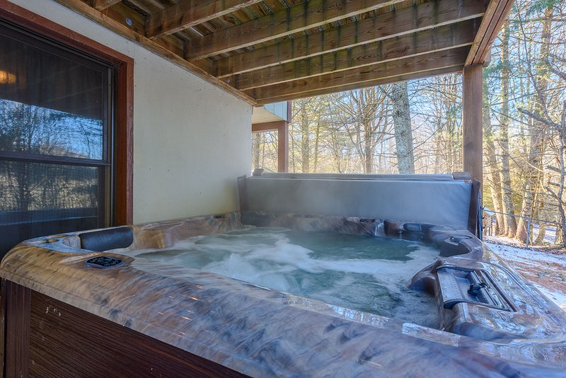 Hot Tub Located on Lower Level Porch