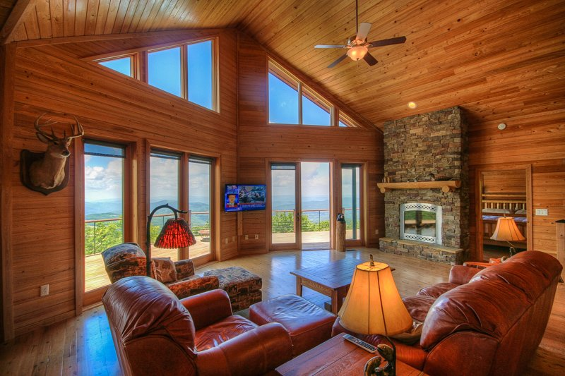 Top Lodge de montaña de Espacio Abierto, chimenea de piedra, Big Views