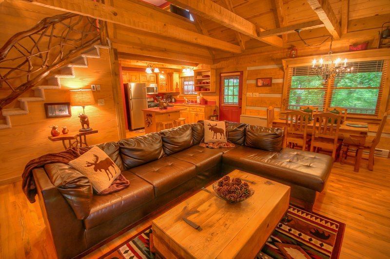 Lazy Bear Cabin Open Floor Plan, comoda seduta in pelle