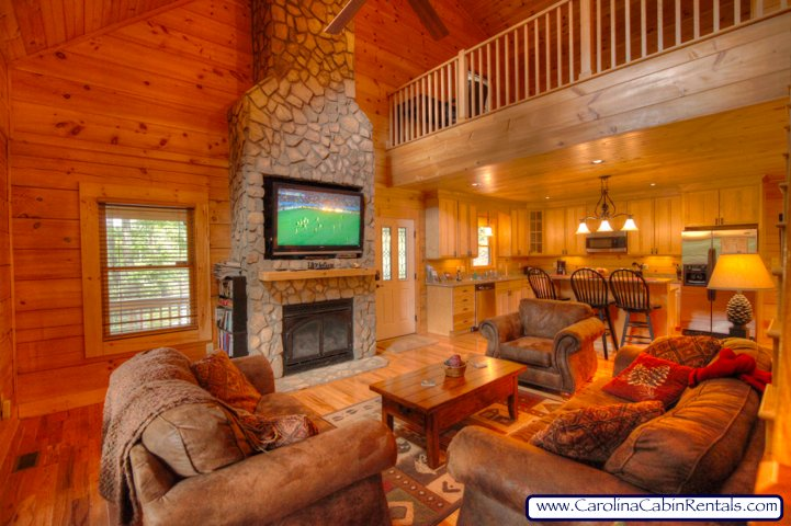 Elk Laurel Great Room with Gas Stone fireplace and large 52 inch flat screen TV