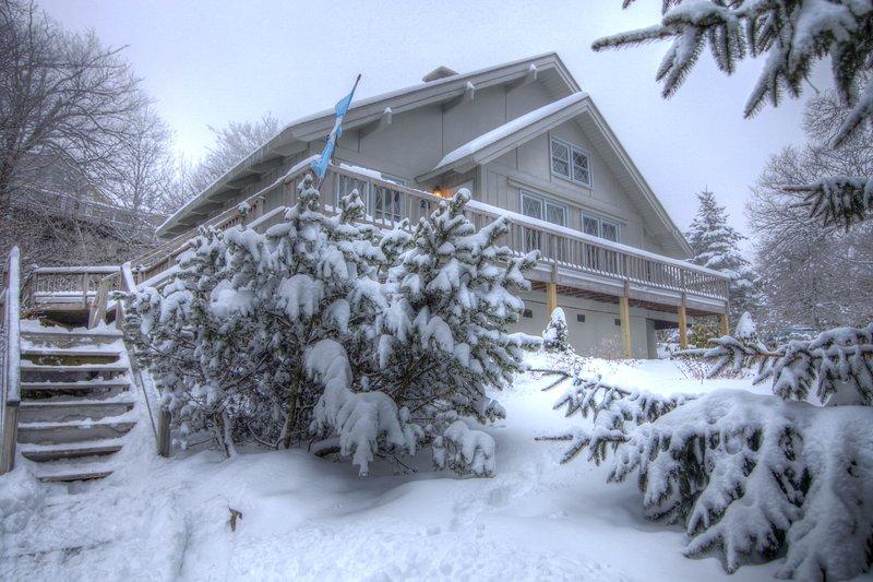 Blue Heaven Chalet davanti a casa durante la stagione invernale