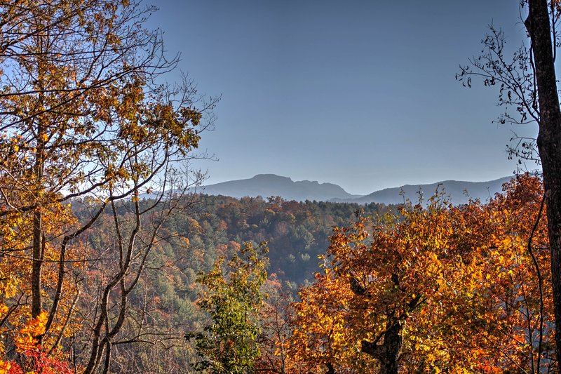 Views of Grandfather Mountain from Living Room, Front Porch and Outdoor Firepit Area