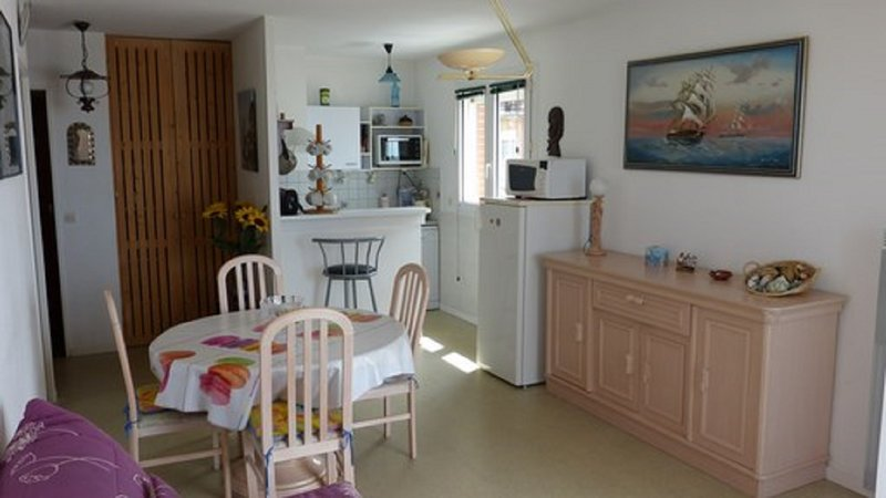 Inside view, you can see the kitchen window overlooking the beach