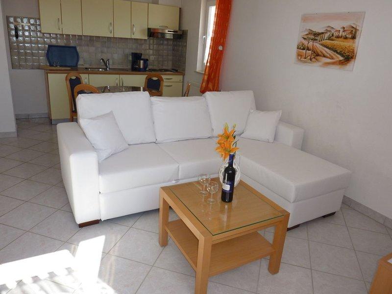 Sala com cozinha e sofá-cama