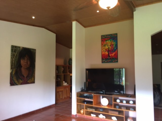 62 inch flat screen television and eclectic art in your spacious living room.