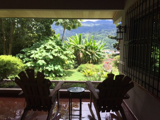 The view into the garden overlooking Bajo Boquete from your terrace.