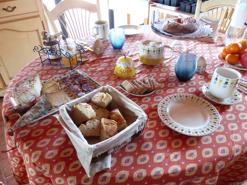 brekkie included yogurt cakes jams eggs from our hens Corsican cheese sausage