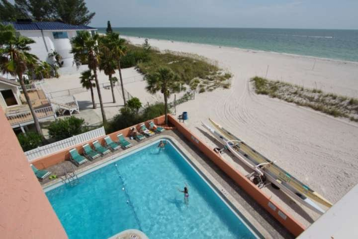 Corner unit from the fourth floor overlooking the pool, beach and Gulf of Mexico