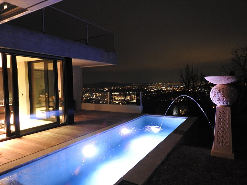 View and private Pool at Night