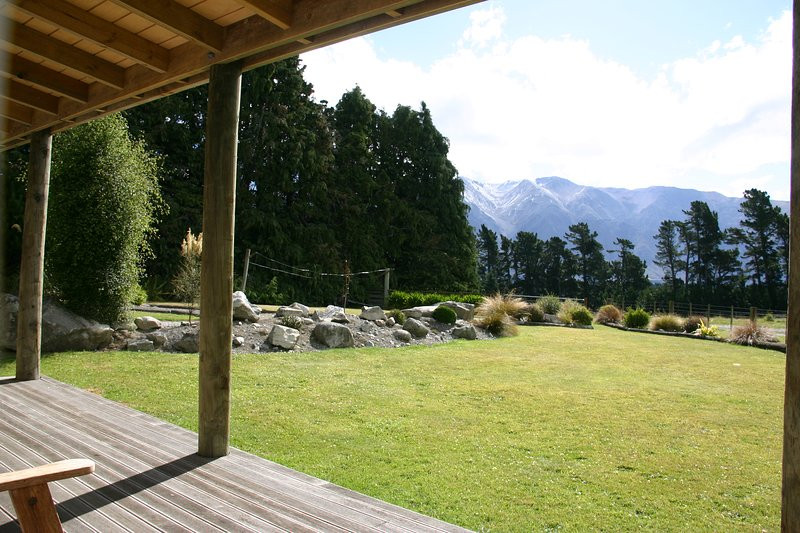 View from the deck. Many people have enjoyed a glass of wine here admiring the view of Mount Hutt.