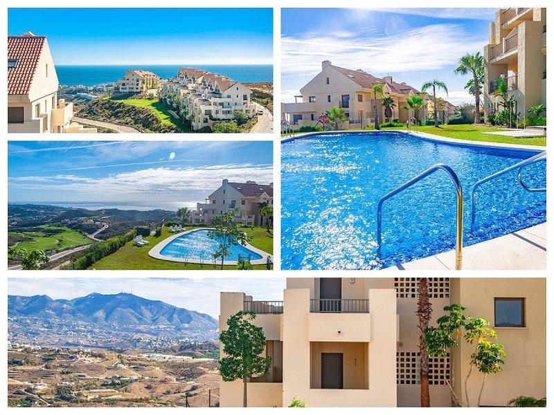 Vista maravilhosa de uma das 3 piscinas jardins paisagísticos tropicais, com ambas as montanhas e vista para o mar