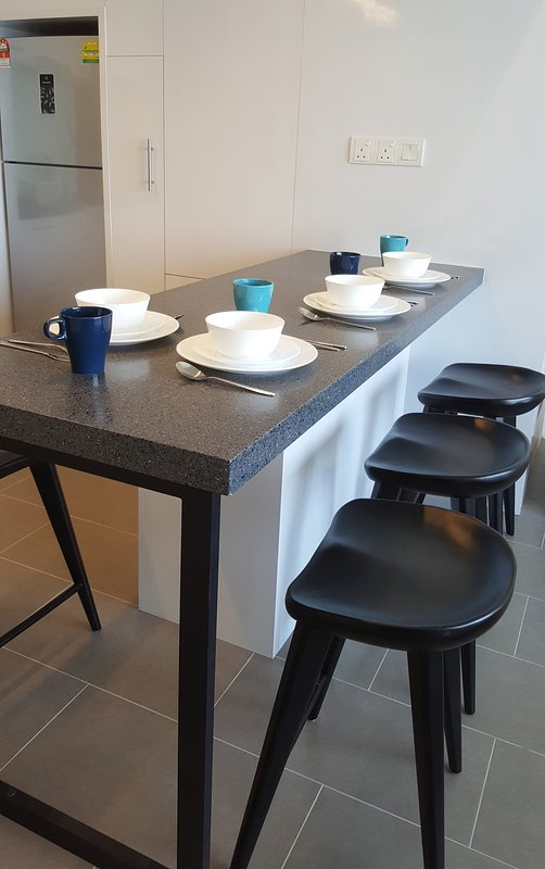 dining area with high stools