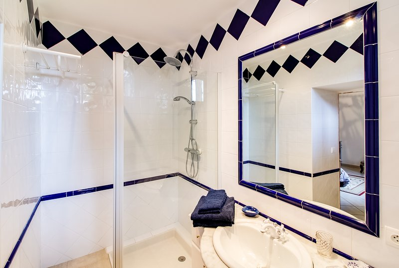 The bathroom of the red room with shower