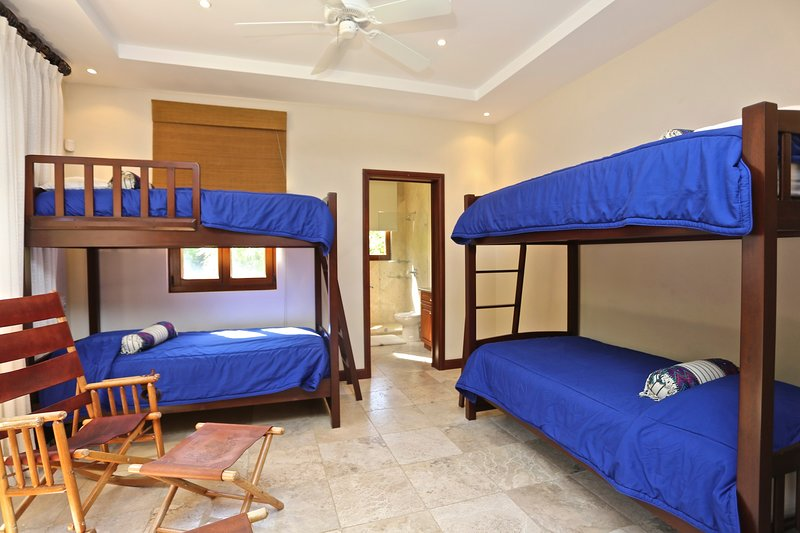 Bunk room w/bath for kids/cousins/friends.  Optional Queen bed can be added.
