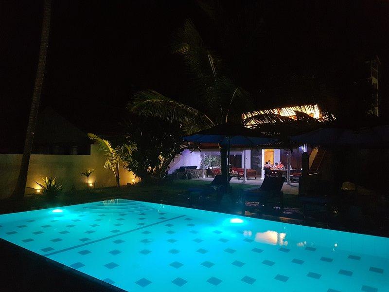 La maison, mur et piscine éclairée la nuit (il suffit de choisir une couleur de la piscine!)