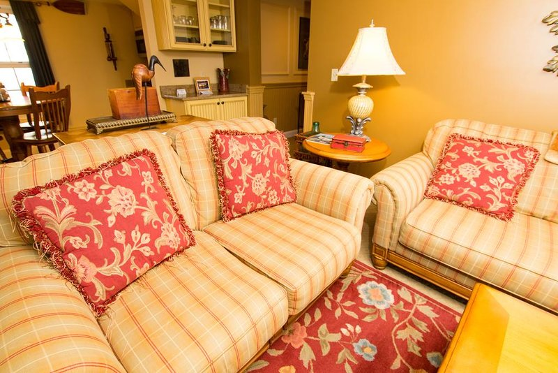 A comfortable living room to enjoy while traveling. Room to relax.