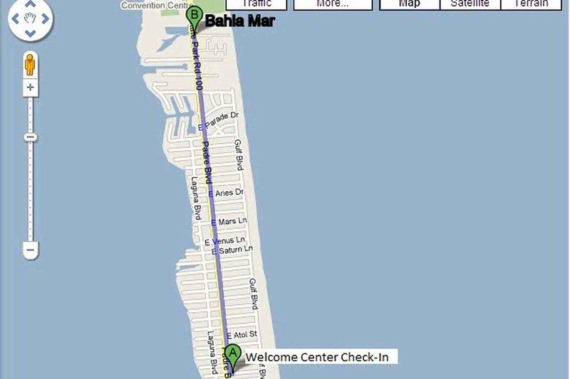 Mapa desde el Centro de Bienvenida a Bahía Mar