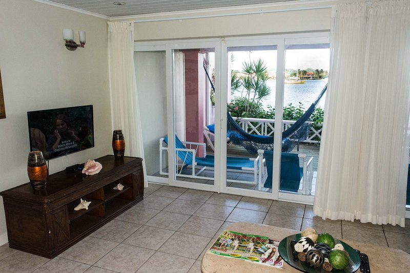 Patio and sea view from lounge
