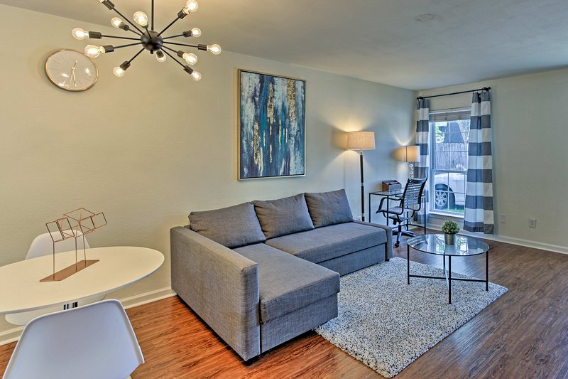 Step inside to discover contemporary furnishings and hardwood floors.