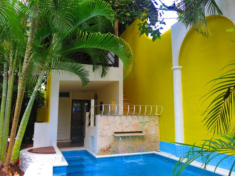 Casa Dárcy Bungalows waterfall and pool with palapa