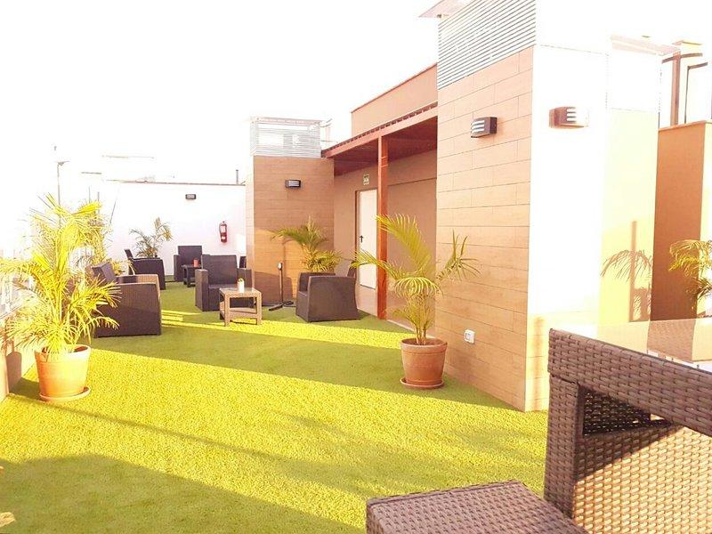 área social no telhado