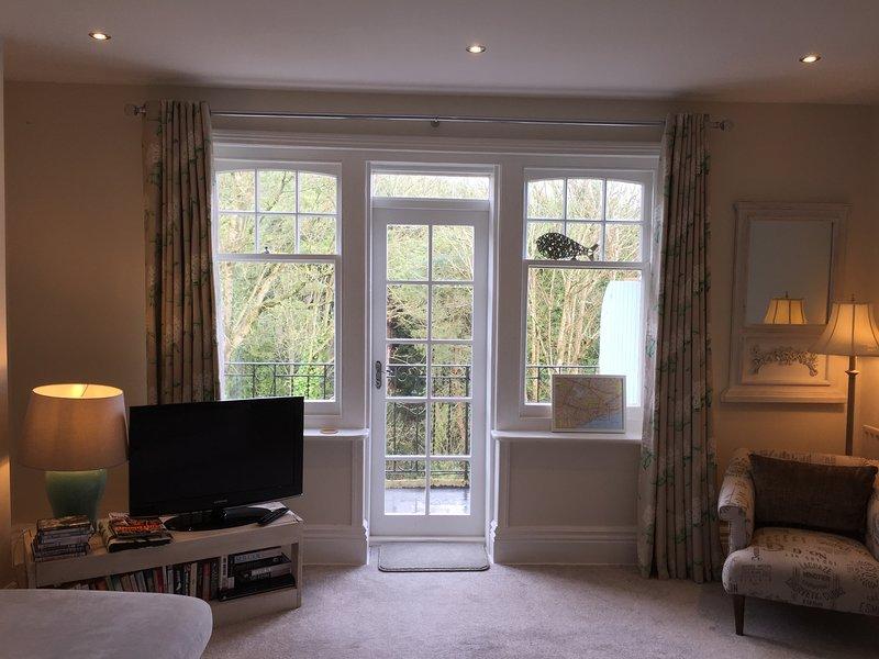 grand salon avec TV et balcon avec vue sur Chine Alum