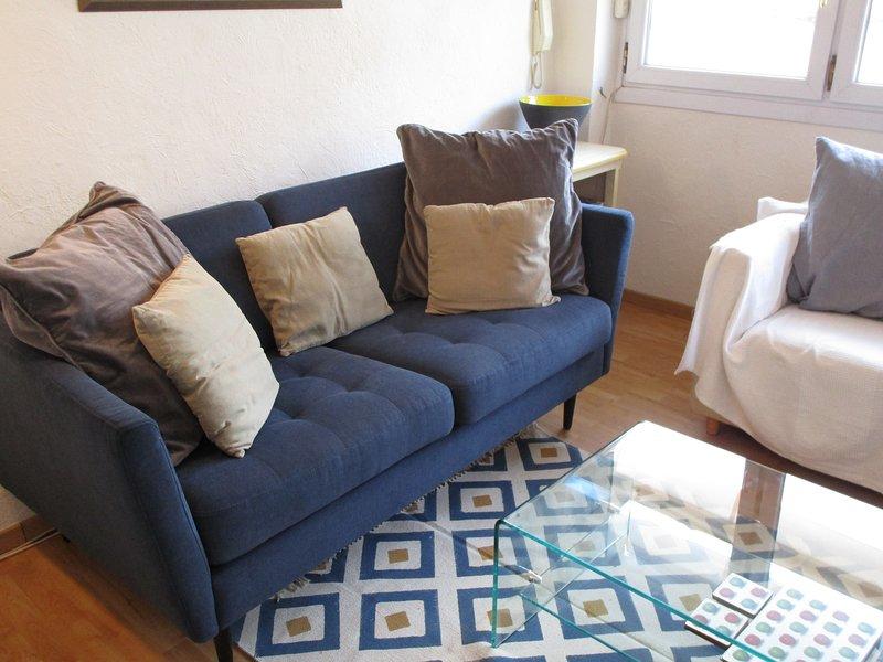 Wohnzimmer - blaues Sofa