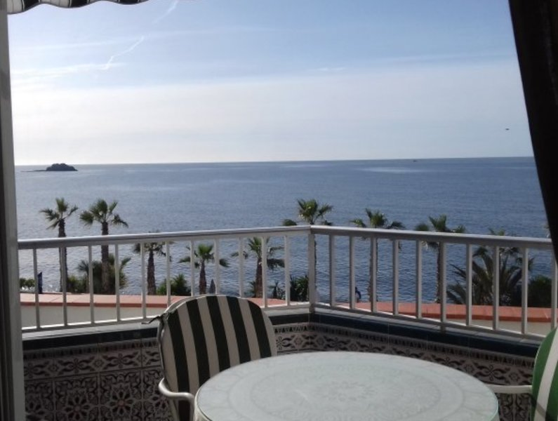 Stunning views from the terrace of this front line, 2 bed 2 bathroom apartment in Almunecar.